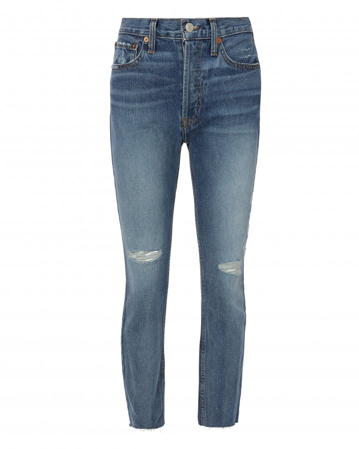 High-Rise Destroyed Ankle Crop Jeans