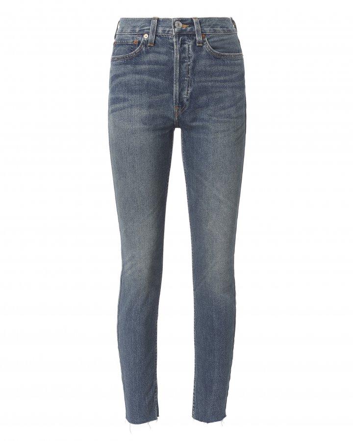 High-Rise Ankle Crop Dark Wash Jeans
