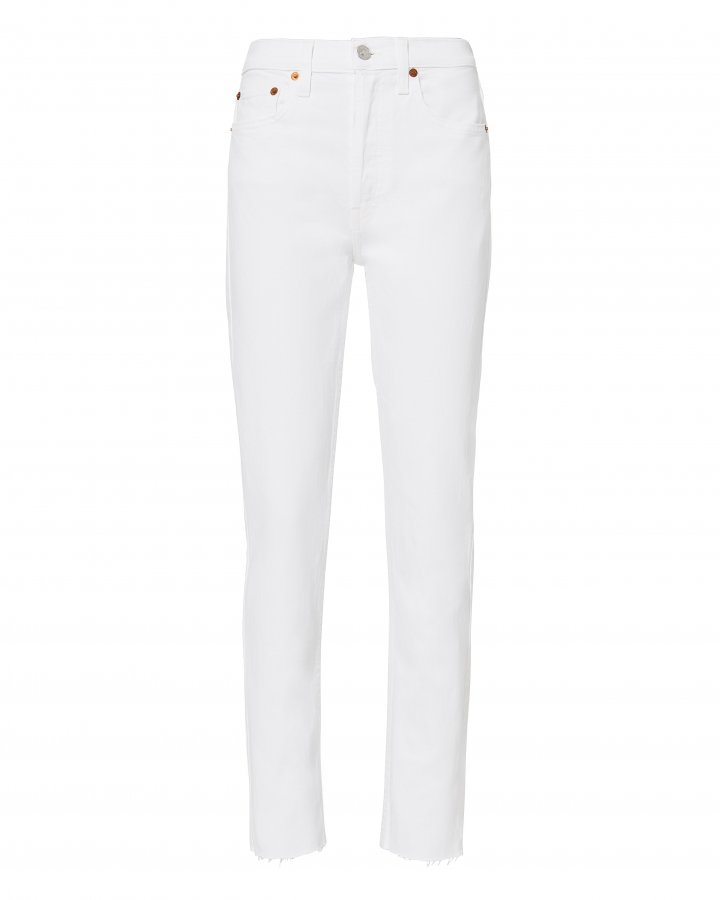 High-Rise Ankle Crop White Jeans