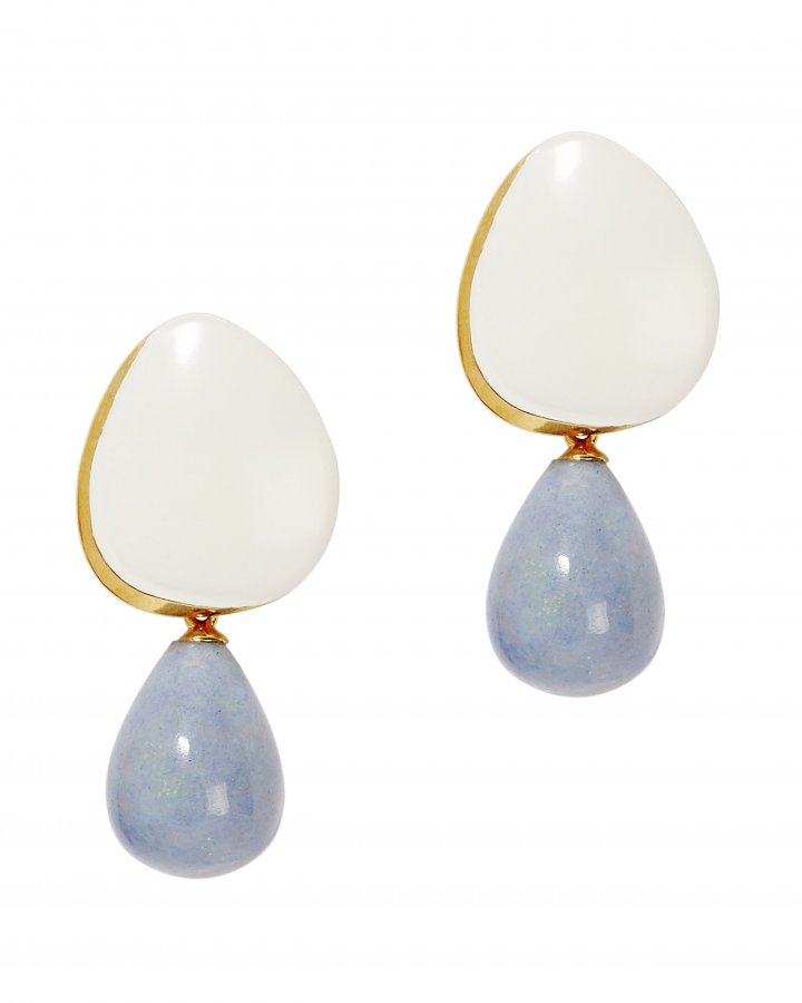 Cream Painted Drop Earrings