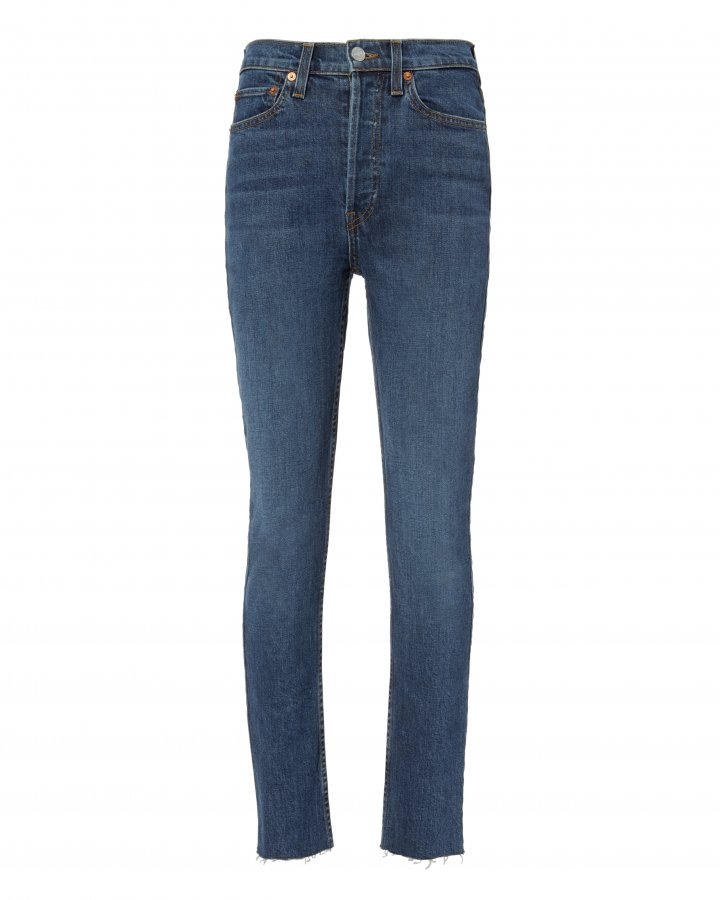 High-Rise Ankle Crop Dark Indigo Jeans