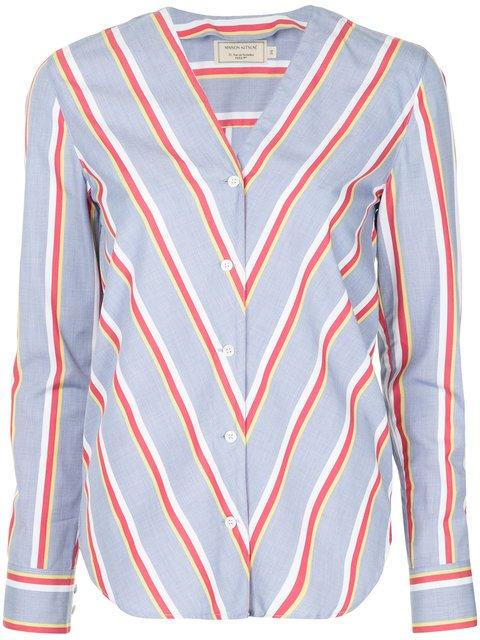 Maison Kitsuné Contrast Stripe Blouse - Farfetch