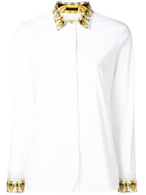 Versace Barocco Collar Print Shirt - Farfetch
