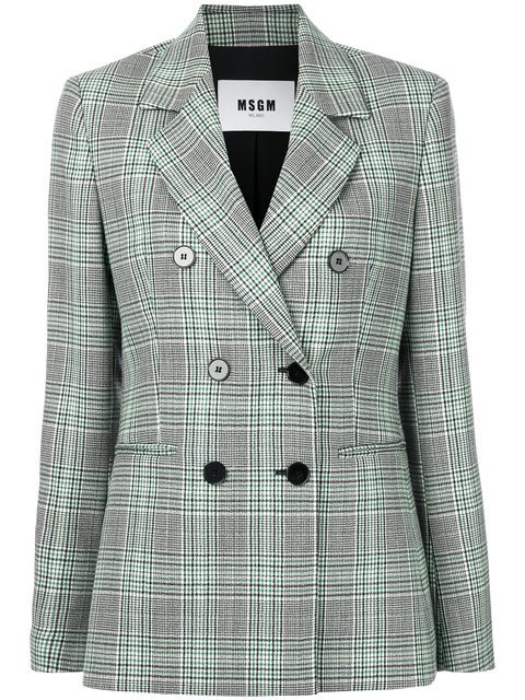 MSGM Check Double-breasted Blazer - Farfetch