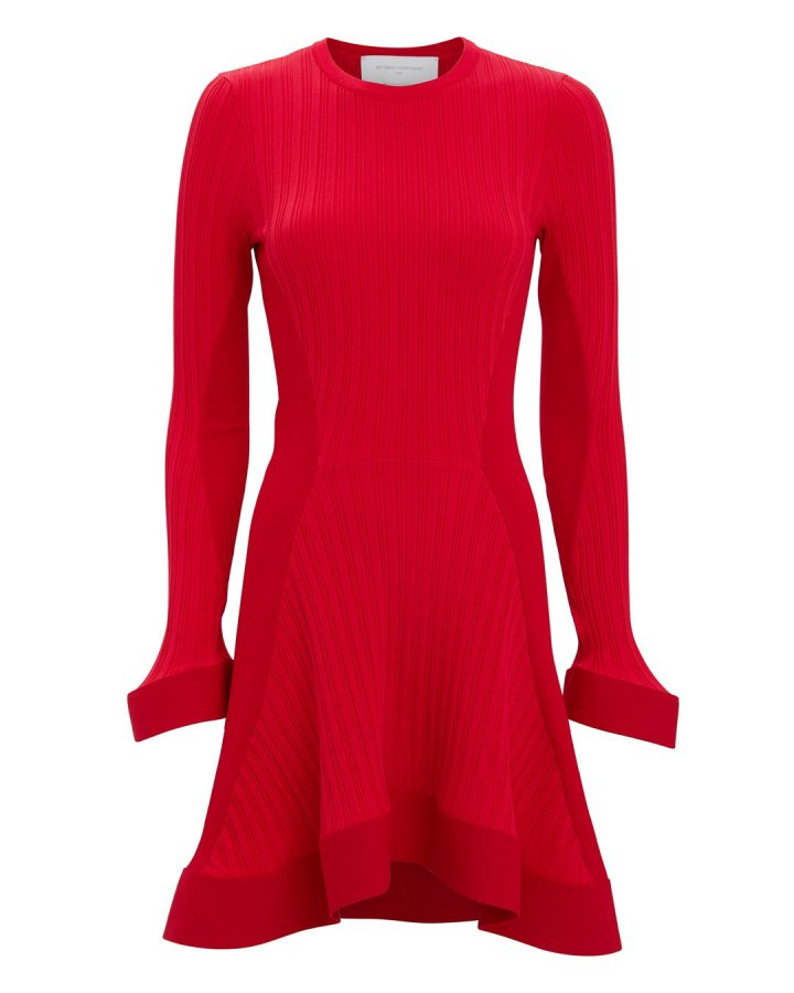 Red Knit Ruffle Hem Mini Dress