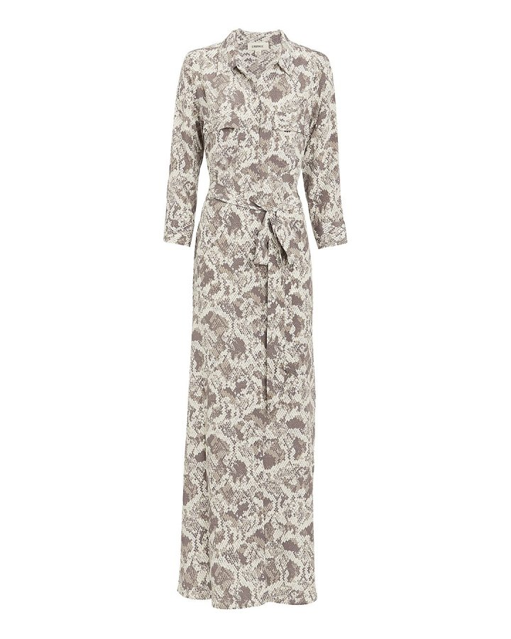 Cameron Snake-Printed Shirtdress