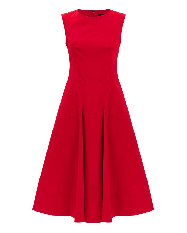 Fit-And-Flare Red Midi Dress