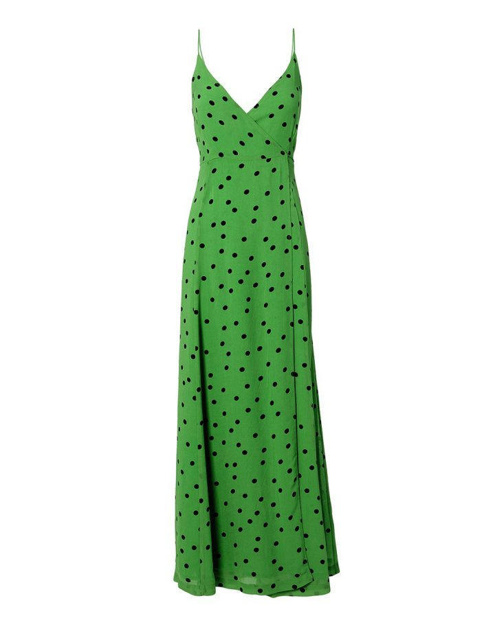 Green Polka Dot Maxi Dress
