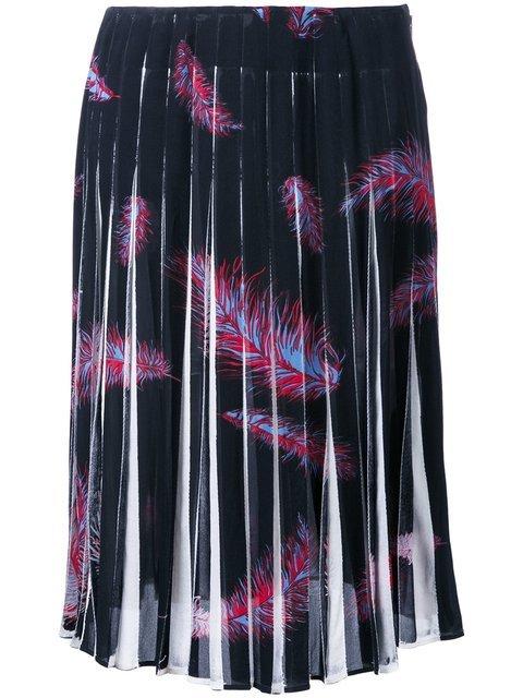 Emilio Pucci \'Feathers Print Crepe De Chine\' Skirt - Farfetch