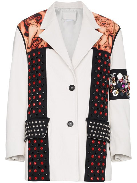 Prada Embossed Embellished Leather Jacket - Farfetch