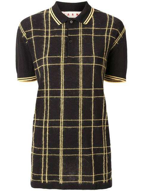 Marni Long Checked Polo Shirt - Farfetch