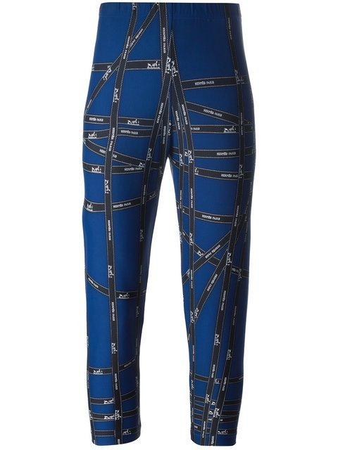 Hermès Vintage Logo Ribbon Print Leggings - Farfetch