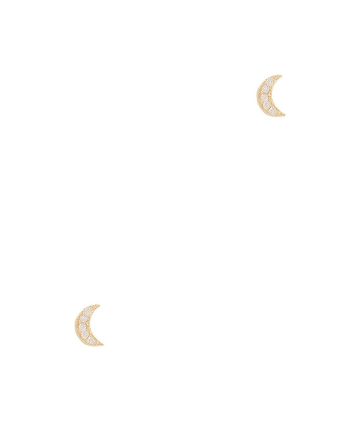 Itty Bitty Diamond Moon Earrings