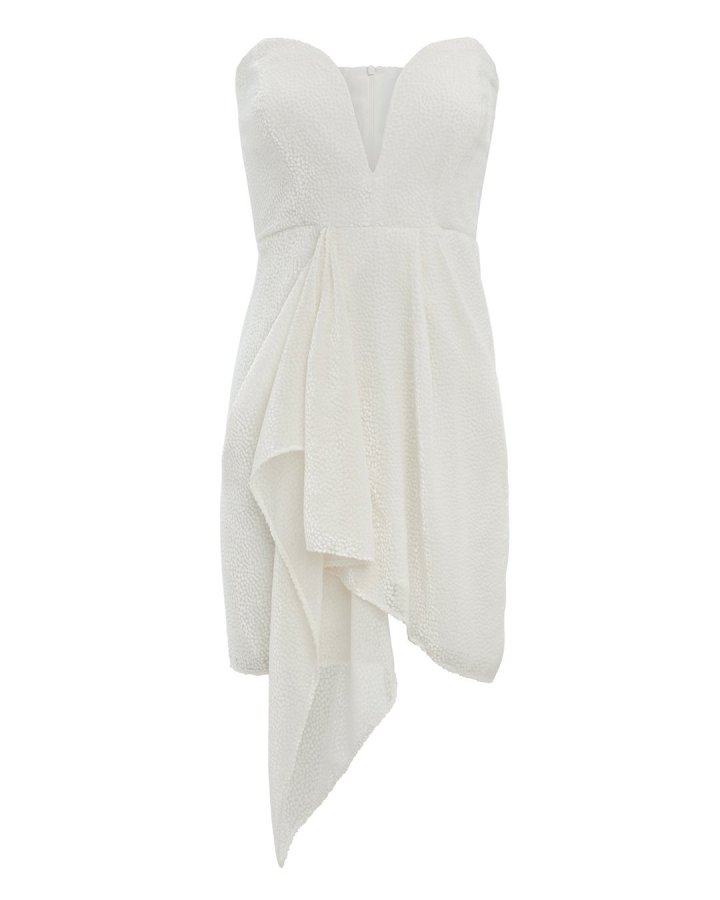 White Strapless Velvet Burnout Dress