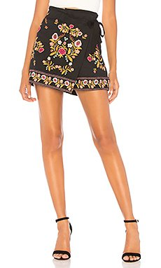 Lydia Embroidered Wrap Skirt                                             About Us