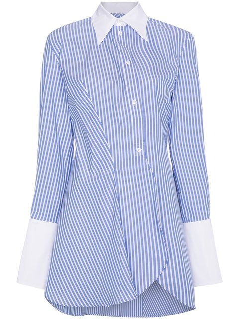 Wright Le Chapelain Stripe Long Sleeve Asymmetric Shirt - Farfetch