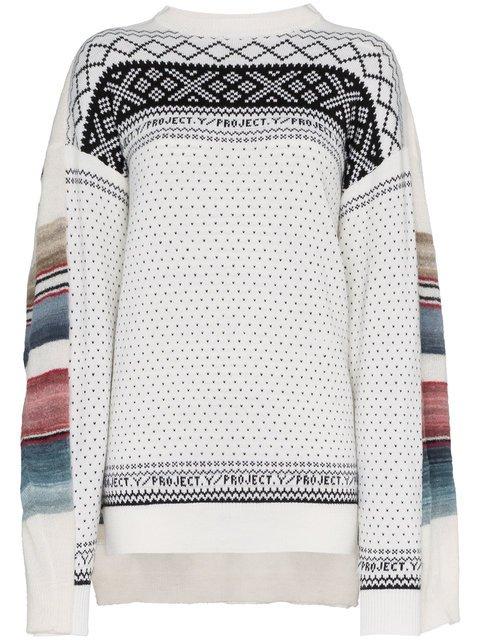 Y / Project Crew Neck Long Sleeve Wool Blend Sweater  - Farfetch