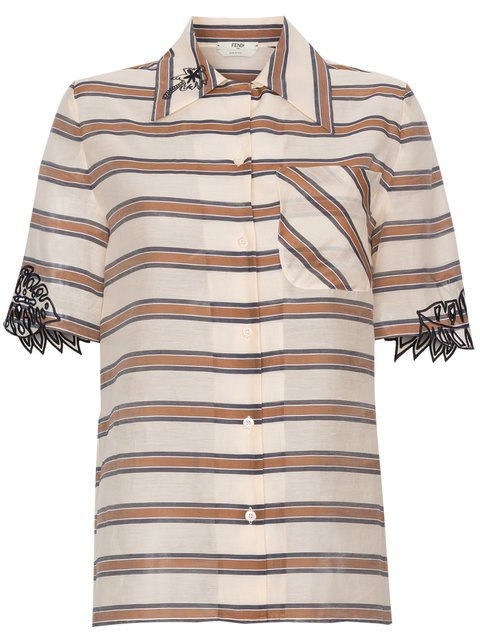 Fendi Oversized Stripe Print Embroidered Shirt - Farfetch