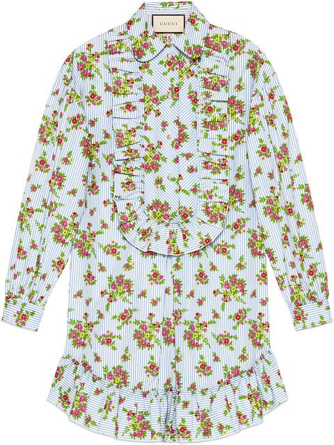 Gucci Floral Bouquet Striped Cotton Shirt - Farfetch