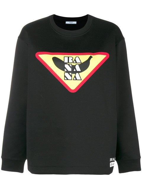 Prada Logo Print Sweatshirt - Farfetch
