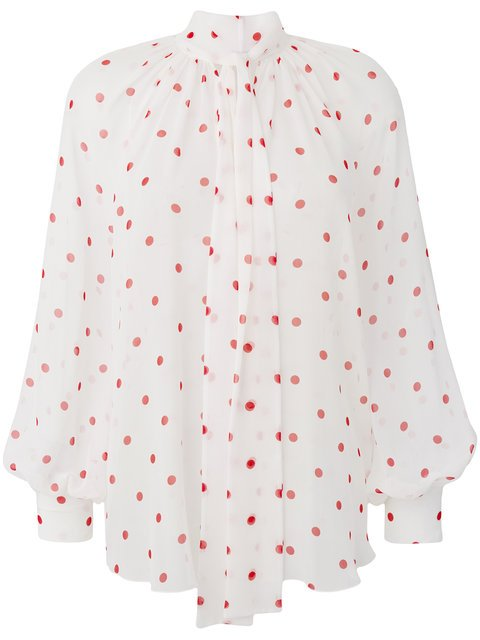 MSGM Tie Neck Polka Dot Blouse - Farfetch
