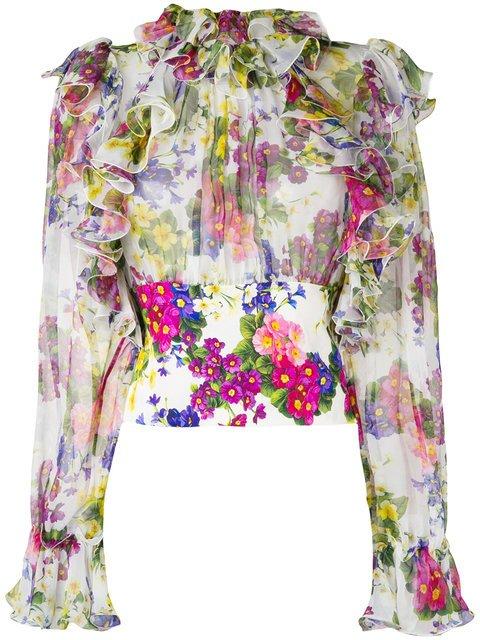 Dolce & Gabbana Floral Ruffled Blouse - Farfetch