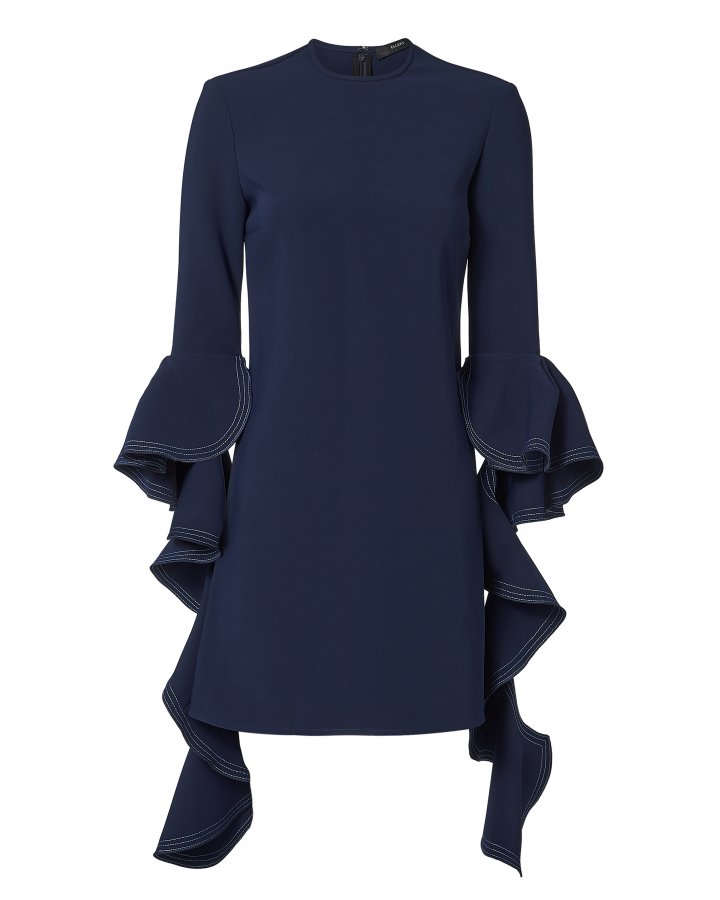 Kilkenny Frill Sleeve Navy Dress