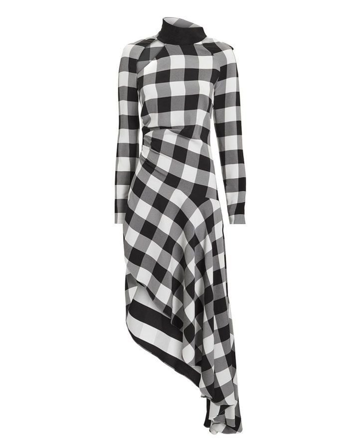 Gingham Asymmetrical Midi Dress