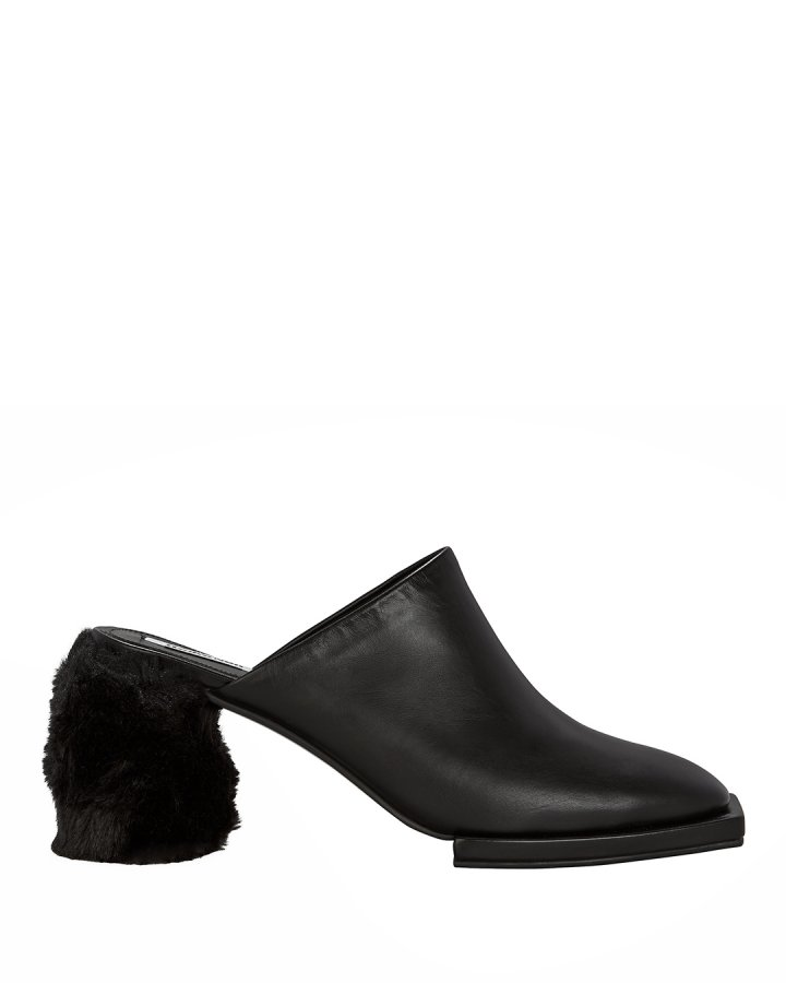 Faux Fur Block Heel Mules