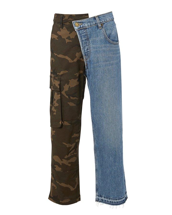 Split Camo Cargo Jeans