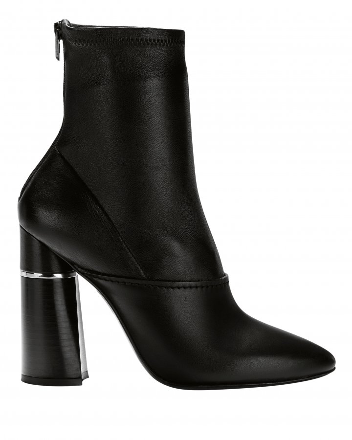 Kyoto Black Leather Ankle Boots
