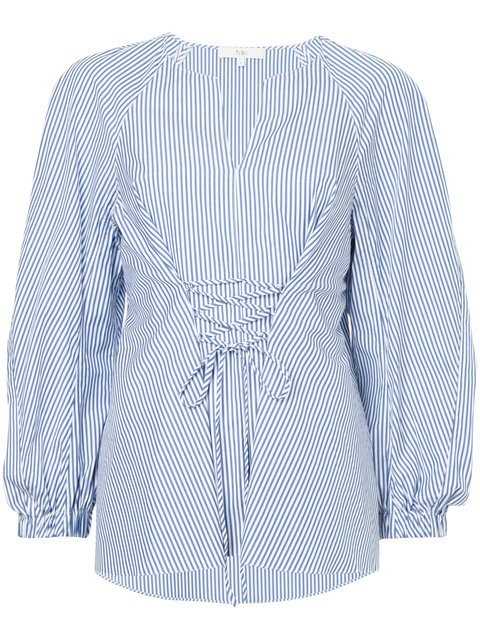 Tibi Striped Lace-up Blouse - Farfetch