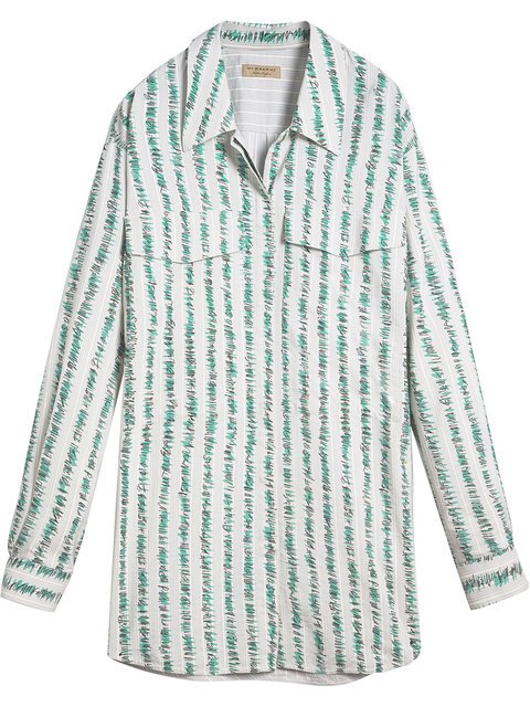Burberry Scribble Stripe Print Silk Cotton Longline Shirt - Farfetch