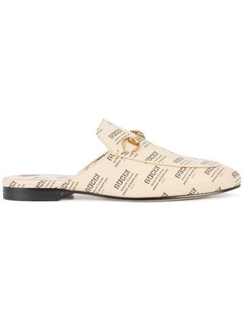 Gucci Princetown Gucci Invite Print Slippers - Farfetch