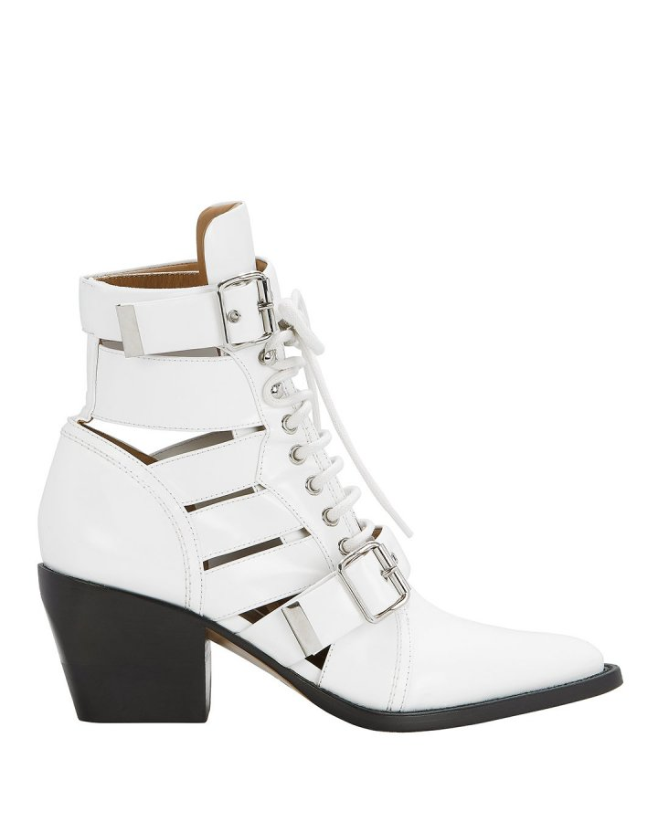 Rylee Cutout White Ankle Boots