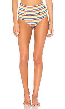 Rainbow Stripe High Waist Bikini Bottom                                             NICHOLAS
