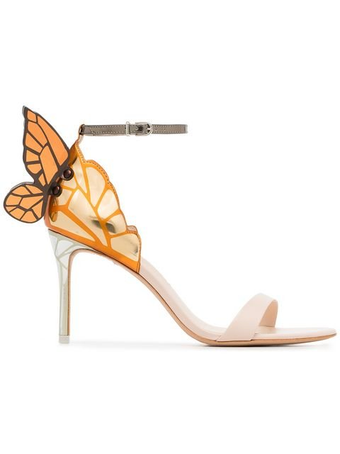 Sophia Webster Nude And Orange Chiara 85 Leather Sandals - Farfetch