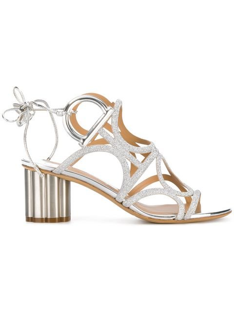 Salvatore Ferragamo Flower Heel Gancini Sandals  - Farfetch