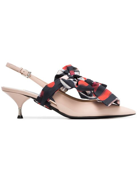 Prada Cream, Black And Red Bow Front 55 Patent Leather Slingback Pumps - Farfetch