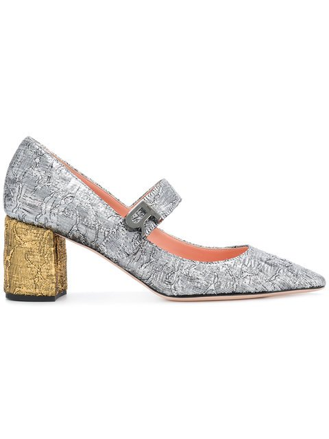 Rochas Two Tone Textured Pumps - Farfetch