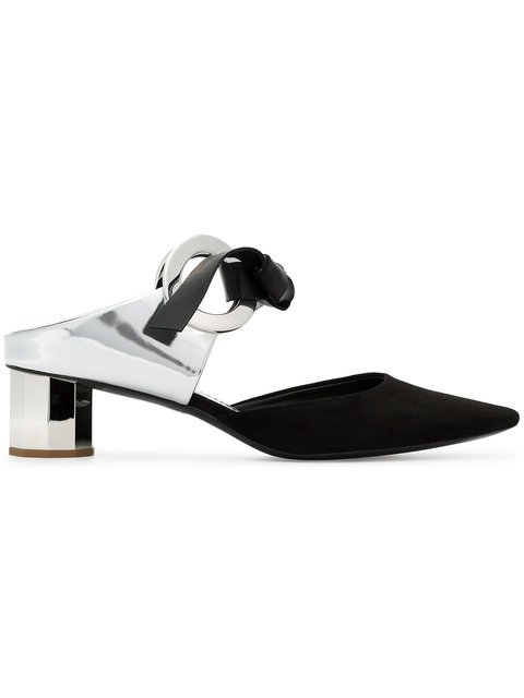 Proenza Schouler Black 40 Suede Mirrored Heel Mules - Farfetch