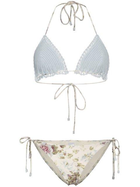 Zimmermann Iris Crochet Floral Triangle Bikini - Farfetch