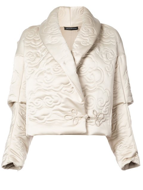 Josie Natori Shawl Collar Embossed Jacket - Farfetch