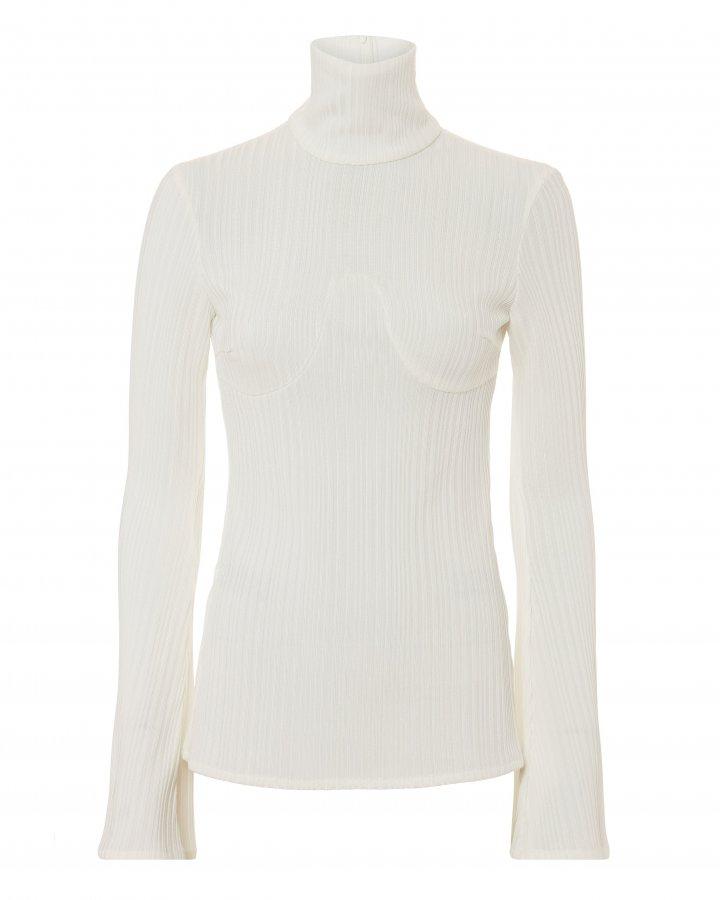 Kinetic Rib Knit Ivory Top