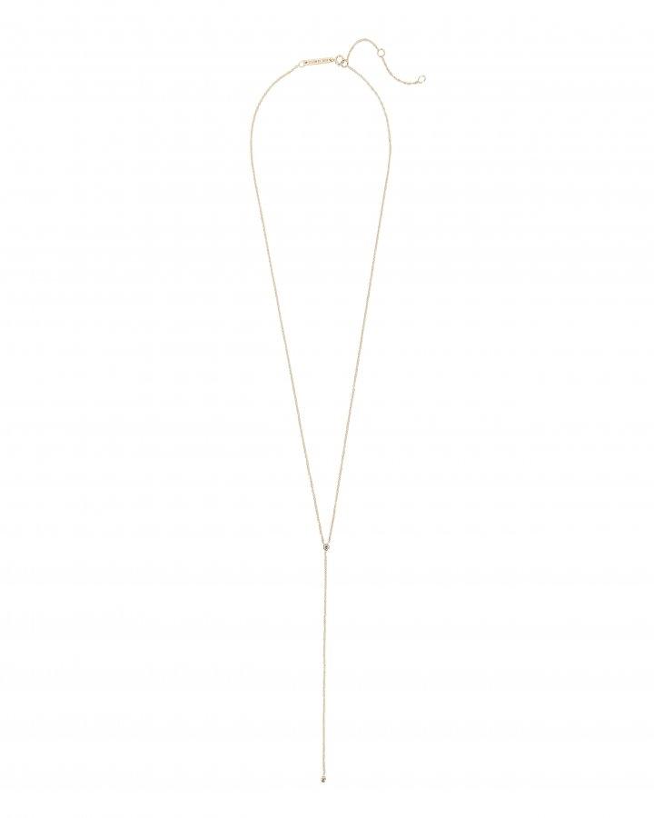 Bezel Diamond Lariat Necklace