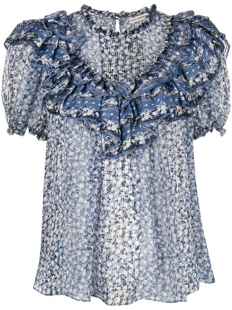Ulla Johnson Frilled Floral Top - Farfetch