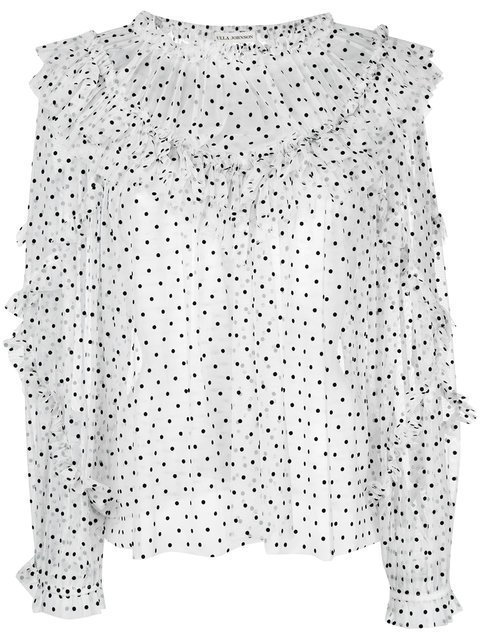 Ulla Johnson Frilled Sheer Polka Dot Top - Farfetch