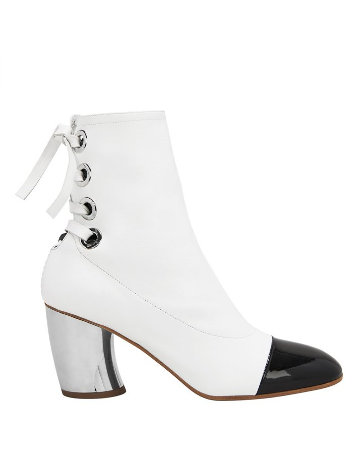 Cap Toe Silver Heel White Booties