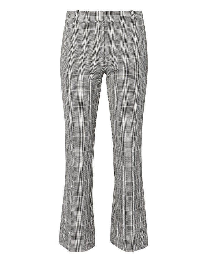Plaid Cropped Flare Trousers