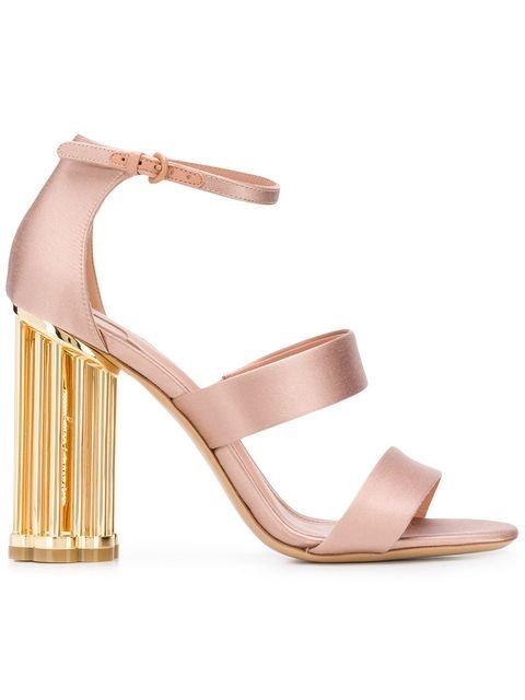 Salvatore Ferragamo Satin Flower Heel Sandals - Farfetch